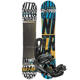 NITRO Snowboard Set PRIME STACKED 163 cm WIDE + WIZARD Bindung BLACK L 2015