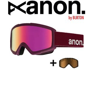 ANON by BURTON Helix 2.0 with Spare Goggle Schneebrille Merlot Pink SQ / Men