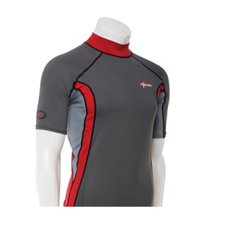 ASCAN Shirt Red/Grey Kurzarm Lycra